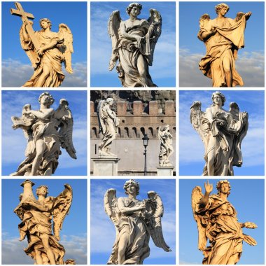 Collage of Angel statues