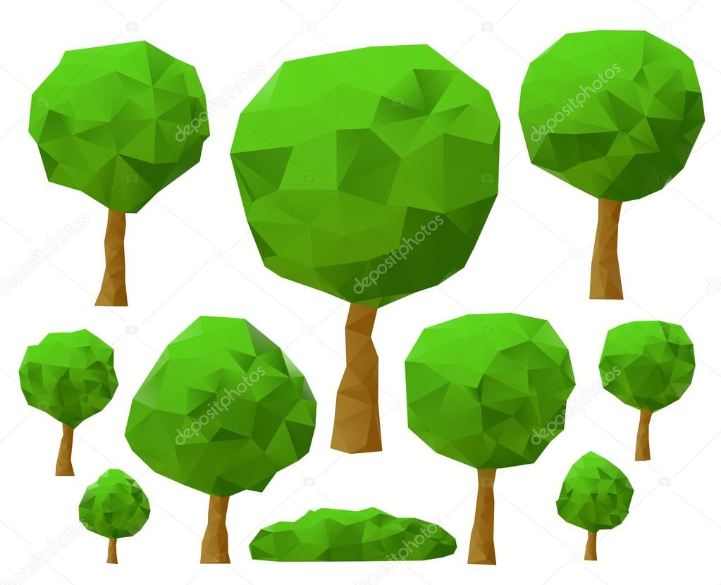 Trees 3d imitation . Vector illustration.