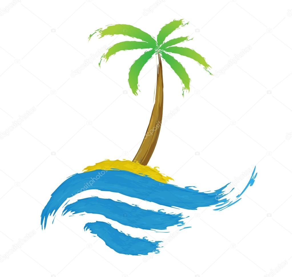 Tropical palm on island with sea.