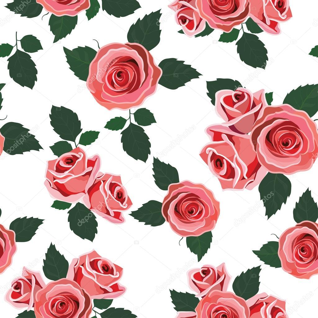 Wallpaper retro pattern rose