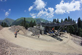 Construction of cable way in the mountains