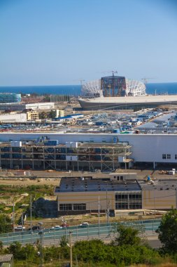 SOCHI, RUSSIA - JUNE 20: Construction of the olympic stadium on June 20, 2012 in Sochi, Russia