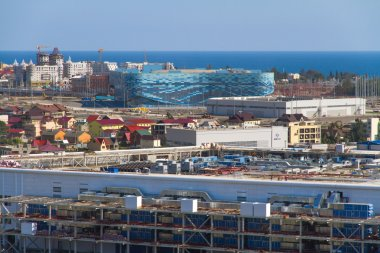 SOCHI, RUSSIA - JUNE 20, 2013: Construction of the stadium