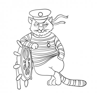 cat at the helm of ship, vector illustration