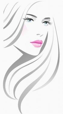 Beautiful girl with long hair clip art vector