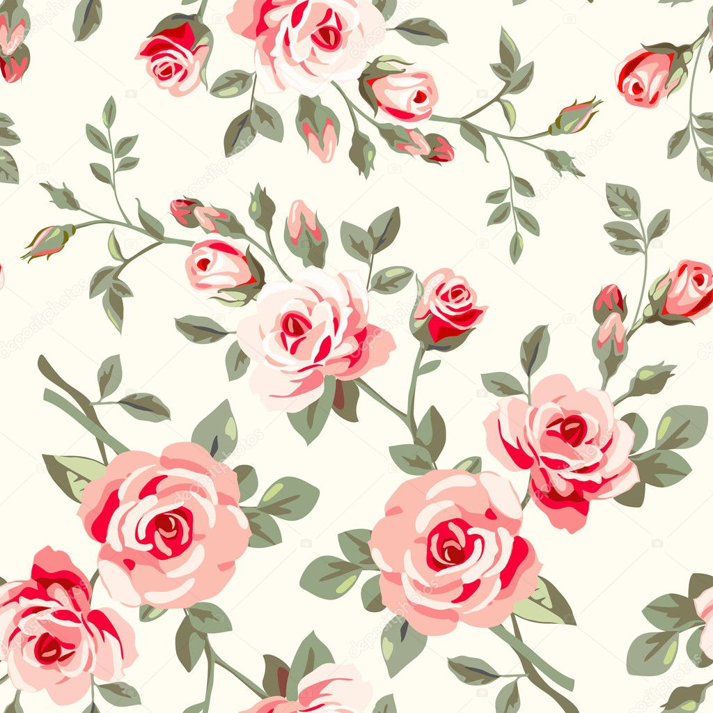 Wallpaper With Roses Stock Vector