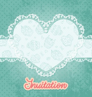 Card with heart shaped lace and cupcake. clip art vector