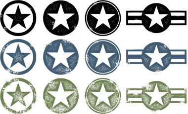 A collection of military style stars in three different states of distress. stock vector