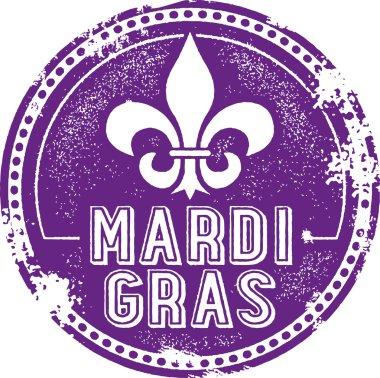 Vintage Style Mardi Gras Celebration Stamp clip art vector