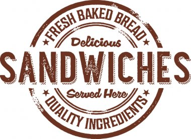 Deli Sandwiches Rubber Stamp