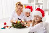 Fotografie ein Adventskranz mit den Kindern machen