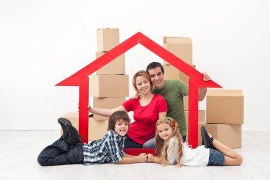 Family in a new home concept