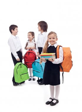 Happy school kids group