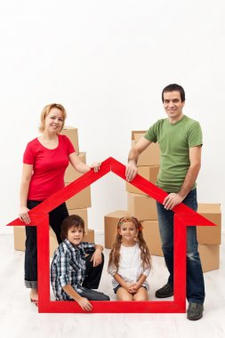 Family with kids buying a new home