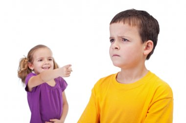 School bullying concept with girl mocking boy