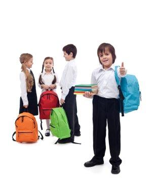 Friends reunite in school - back to school concept