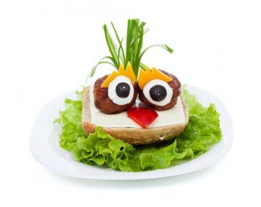 Meatball eyed onion haired creative sandwich