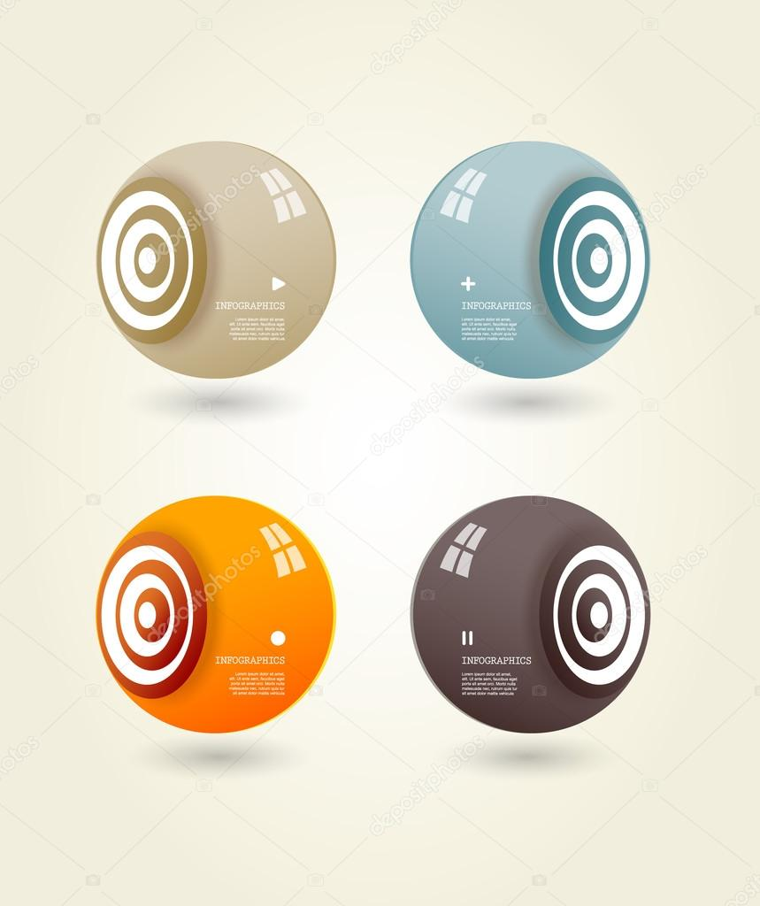 Four colored speakers with place for your own text.