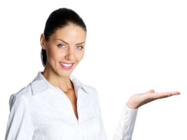 Cheerful businesswoman showing, over white
