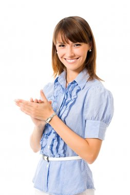 Portrait of young happy clapping business woman