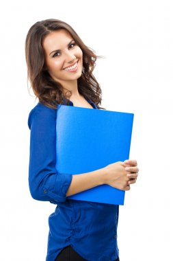 Businesswoman with folder, on white