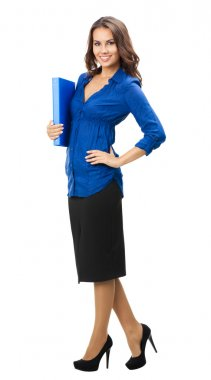 Businesswoman with blue folder, isolated