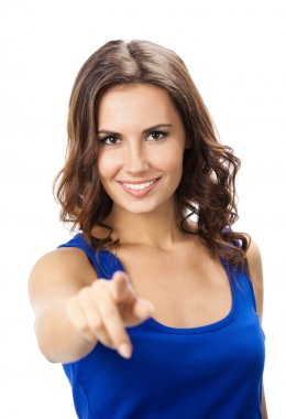 Woman pointing at something or pressing virtual button