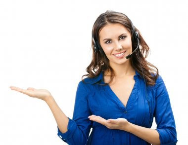 Portrait of happy smiling cheerful young support phone operator in headset showing copyspace area or something, isolated over white background stock vector