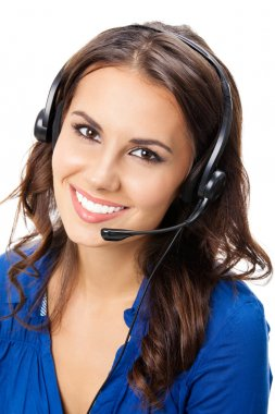 Portrait of happy smiling cheerful young support phone operator in headset, isolated on white background stock vector