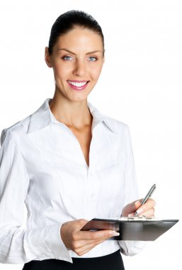 Cheerful beautiful business woman with clipboard writing, isolat