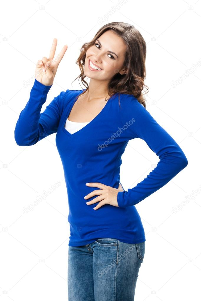 Woman showing two fingers or victory gesture, on white