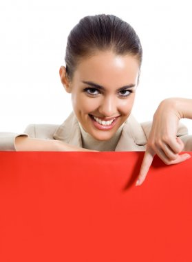 Businesswoman standing with red signboard, on white