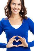 Fotografie Frau mit Herz-Symbol-Geste, isoliert