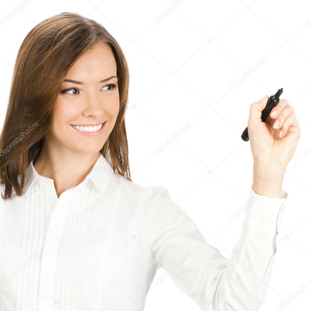 Femme D Affaires D Ecriture Ou De Dessin Isole