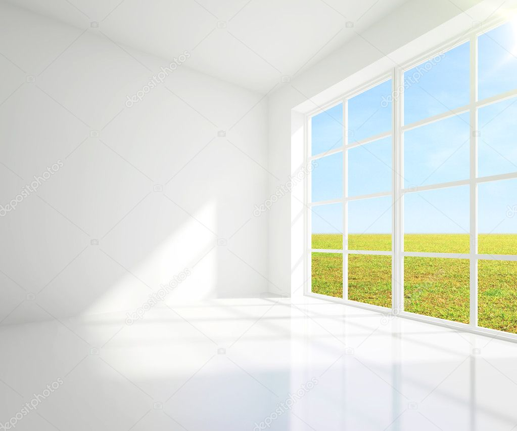 gray room and field
