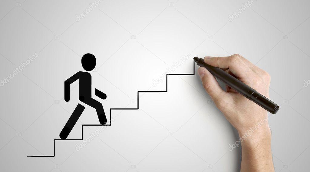climbs ladder
