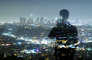 Businessman and night city