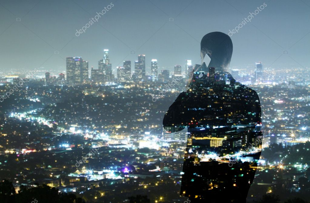Businessman and night city