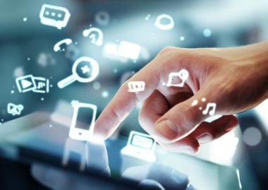 Hand touching digital tablet, social media concept stock vector