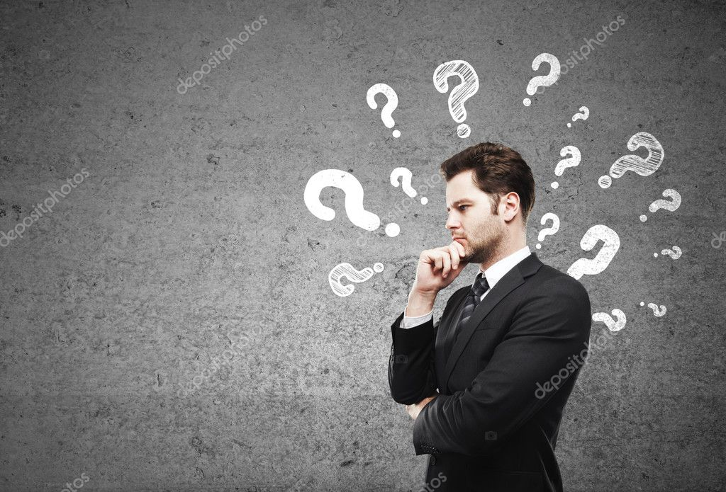 businessman having questions