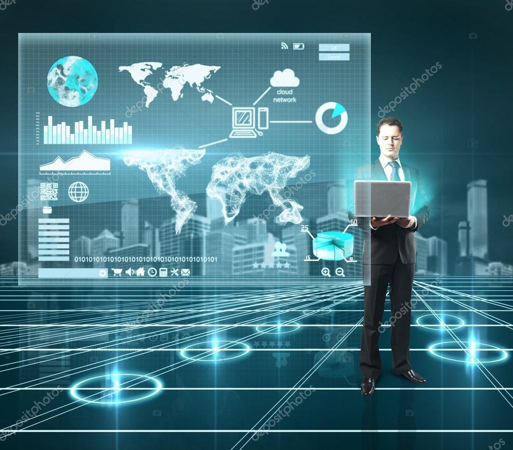 businnesman and interface world