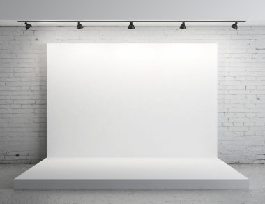 White backdrop in room with grey paint on wall stock vector