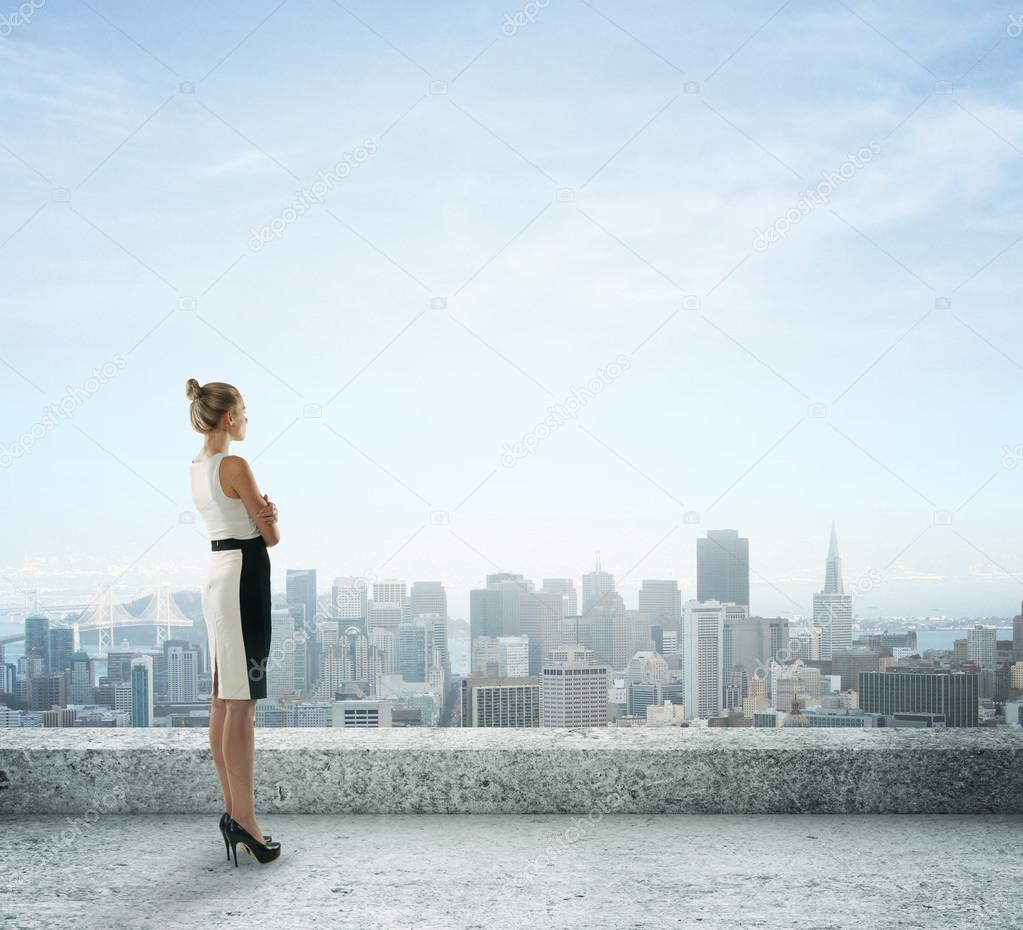 woman looking at city