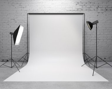Photography studio with a light set-up and backdrop stock vector