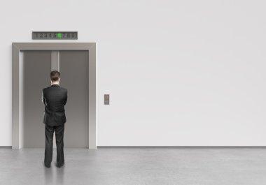 man and elevator