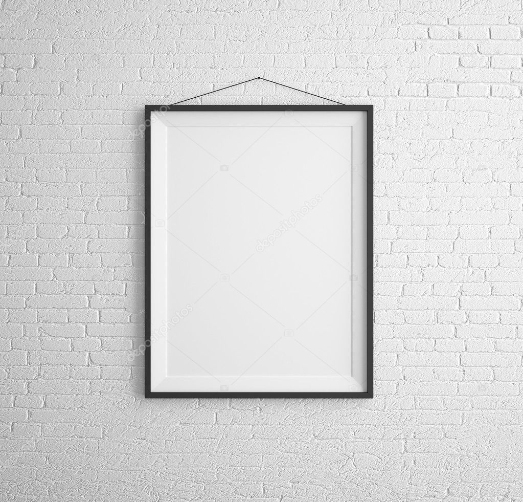 black picture frame. Black Frames On Brick Wall \u2014 Photo By Peshkova Picture Frame