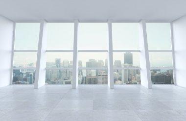 Interior and big window in city stock vector