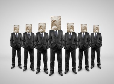 several businessman with paper bag