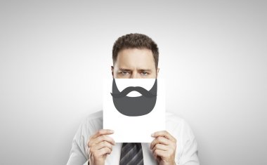 businessman with drawing beard