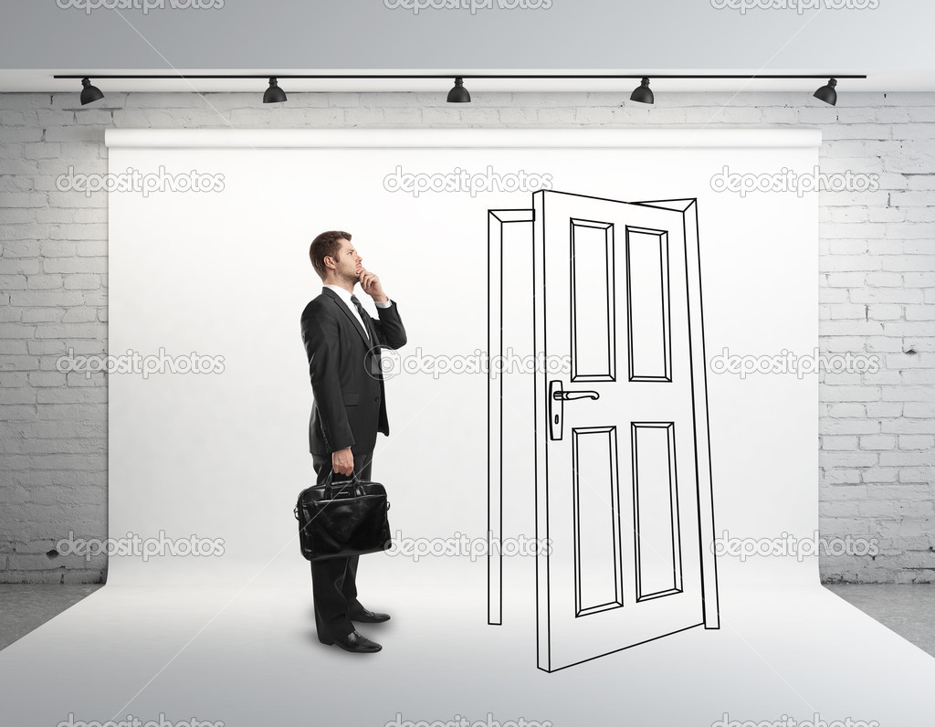 Businessman And Drawing Door U2014 Stock Photo